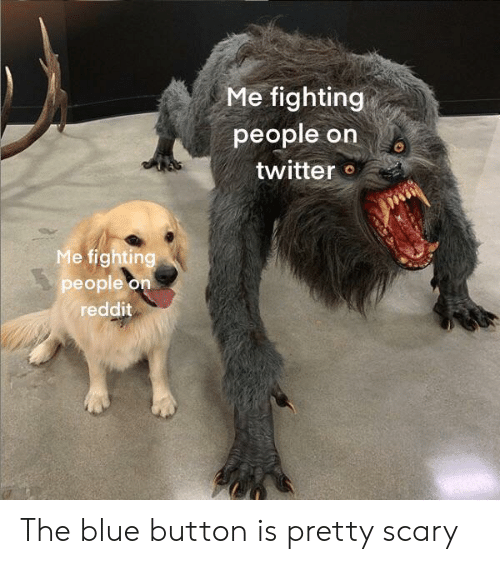Blue Button: Me fighting  people on  twitter  Me fighting  people on  reddit The blue button is pretty scary
