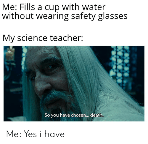 Glasses: Me: Fills a cup with water  without wearing safety glasses  My science teacher:  So you have chosen.. death. Me: Yes i have