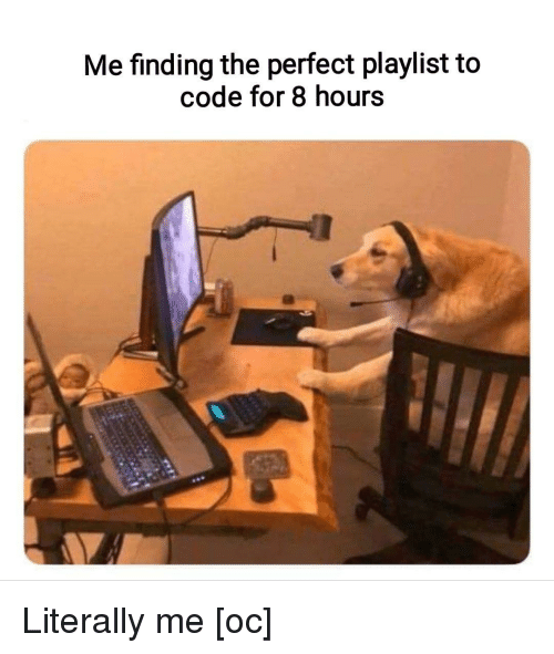 Literally Me: Me finding the perfect playlist to  code for 8 hours Literally me [oc]