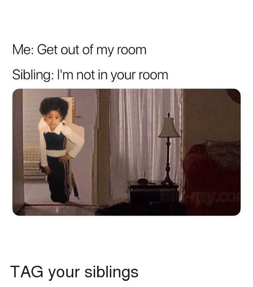 Memes, 🤖, and Get: Me: Get out of my room  Sibling: I'm not in your room TAG your siblings