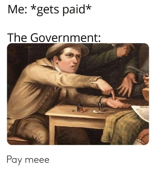 Meee: Me: *gets paid*  The Government: Pay meee