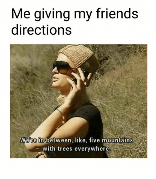 Friends, Memes, and Trees: Me giving my friends  directions  Were in-between, like, five mountains  with trees everywhere