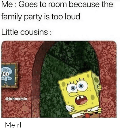 Too Loud: Me: Goes to room because the  family party is too loud  Little cousins  00  @Jahmemin Meirl