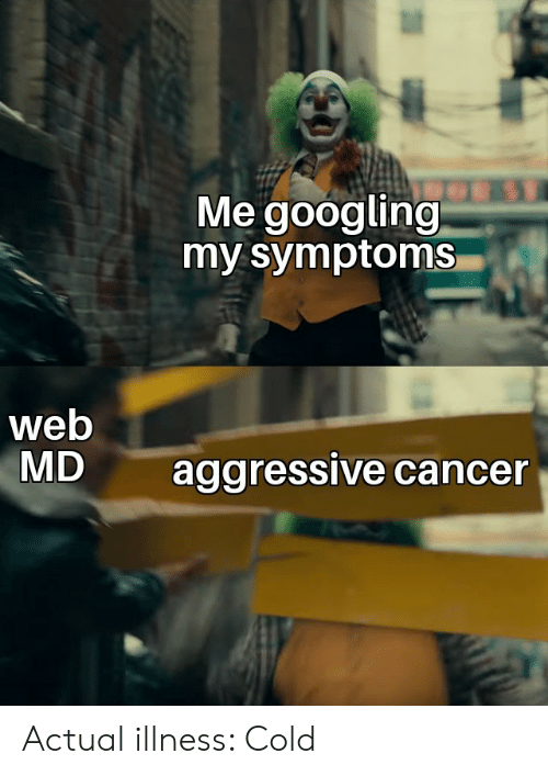 Web Md: Me googling  my symptoms  web  MD  aggressive cancer Actual illness: Cold