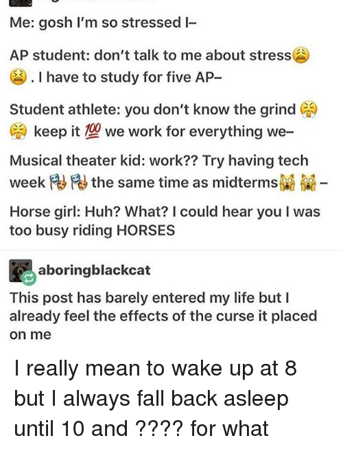 Anaconda, Fall, and Horses: Me: gosh I'm so stressed I-  AP student: don't talk to me about stress  I have to study for five AP  Student athlete: you don't know the grind CA  CA keep it 100 we work for everything we-  Musical theater kid: work?? Try having tech  the same time as midtermsR  Horse girl: Huh? What? I could hear you l was  too busy riding HORSES  aboringblackcat  This post has barely entered my life but I  already feel the effects of the curse it placed  On me I really mean to wake up at 8 but I always fall back asleep until 10 and ???? for what