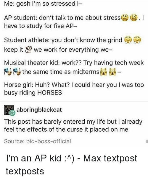 Student Athlete: Me: gosh I'm so stressed I  AP student don't talk to me about stress囧() . I  have to study for five AP  Student athlete: you don't know the grind ( )  keep it we work for everything we-  Musical theater kid: work?? Try having tech week  HJHJ the same time as midterms  Horse girl: Huh? What? I could hear you I was too  busy riding HORSES  aboringblackcat  This post has barely entered my life but I already  feel the effects of the curse it placed on me  Source: bia-boss-official I'm an AP kid :^) - Max textpost textposts