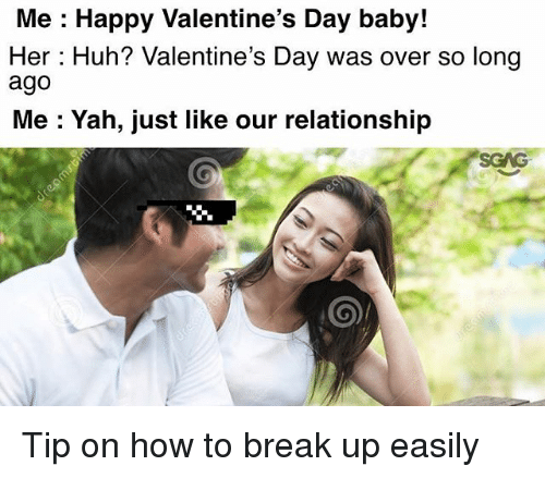 Huh, Memes, and Valentine's Day: Me : Happy Valentine's Day baby!  Her: Huh? Valentine's Day was over so long  ago  Me : Yah, just like our relationship  SCAG Tip on how to break up easily