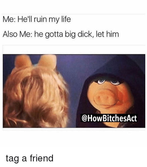Big Dick, Memes, and Big Dicks: Me: He'll ruin my life  Also Me: he gotta big dick, let him  HowBitchesAct tag a friend