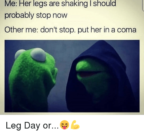 Memes, Leg Day, and 🤖: Me: Her legs are shaking I should  probably stop now  Other me: don't stop. put her in a coma Leg Day or...😝💪