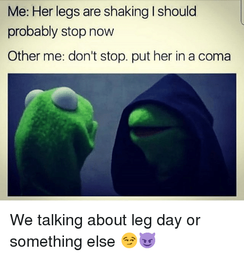 Memes, Leg Day, and Something Else: Me: Her legs are shaking I should  probably stop now  Other me: don't stop. put her in a coma We talking about leg day or something else 😏😈