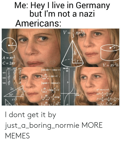 Normie: Me: Hey I live in Germany  but I'm not a nazi  Americans:  tan (B)  10  309 45 60。  sin xdx=-cos x + C  cos x  2  5-1  tan  3  2x 60  sin罢  30°  erad  arctg i  x + I dont get it by just_a_boring_normie MORE MEMES