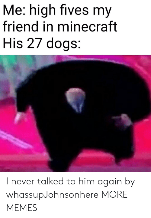 Fives: Me: high fives my  friend in minecraft  His 27 dogs: I never talked to him again by whassupJohnsonhere MORE MEMES
