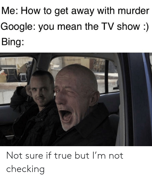 tv show: Me: How to get away with murder  Google: you mean the TV show :)  Bing: Not sure if true but I'm not checking