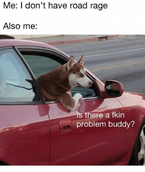 Road Rage: Me: I don't have road rage  Also me:  s there a fkin  problem buddy?