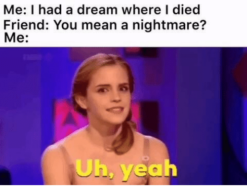 A Nightmare: Me: I had a dream where I died  Friend: You mean a nightmare?  Me:  Uh, yeah