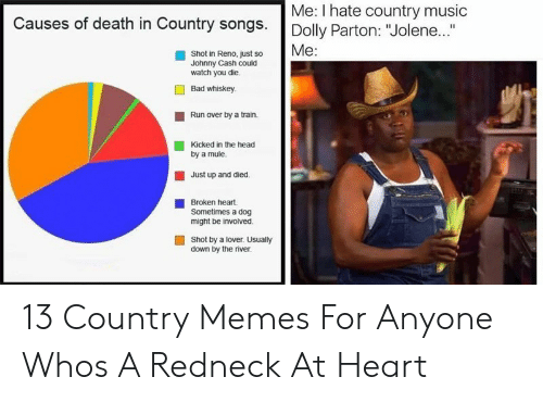 """Country Memes: Me: I hate country music  Causes of death in Country songs. Dolly Parton: """"Jolene..  Me:  Shot in Reno, just so  Johnny Cash could  watch you die.  Bad whiskey  Run over by a train.  Kicked in the head  by a mule.  Just up and died.  Broken heart.  Sometimes a dog  might be involved.  Shot by a lover. Usually  down by the river 13 Country Memes For Anyone Whos A Redneck At Heart"""