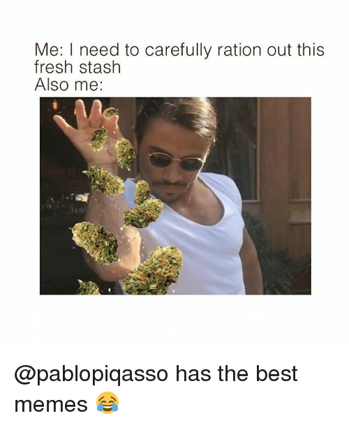 rationalization: Me: I need to carefully ration out this  fresh stash  Also me: @pablopiqasso has the best memes 😂