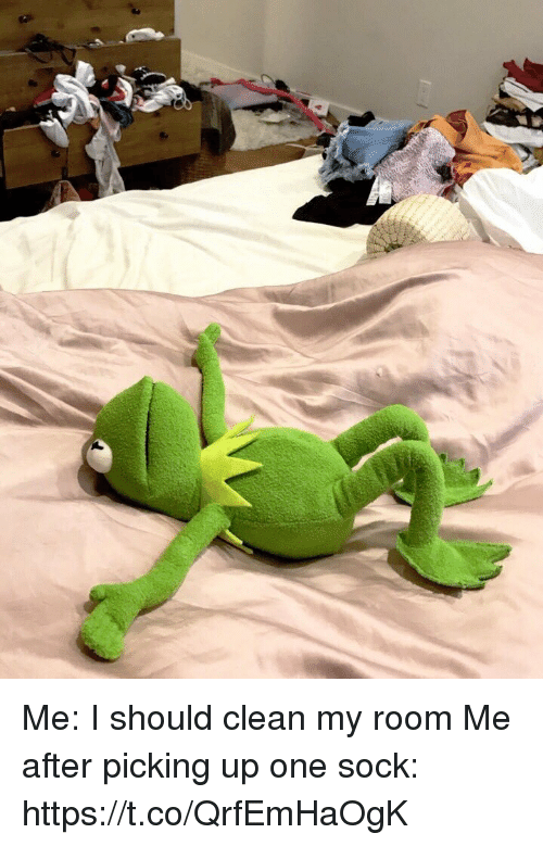 Girl Memes, One, and Clean: Me: I should clean my room  Me after picking up one sock: https://t.co/QrfEmHaOgK