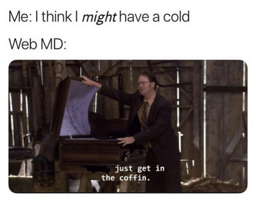 Web Md: Me: I think I might have a cold  Web MD:  just get in  the coffin.
