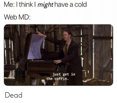Web Md: Me: I think I might have a cold  Web MD:  just get in  the coffin. Dead