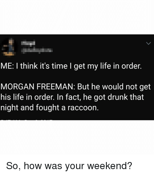 Morgan Freeman: ME: I think it's time I get my life in order.  MORGAN FREEMAN: But he would not get  his life in order. In fact, he got drunk that  night and fought a raccoon. So, how was your weekend?