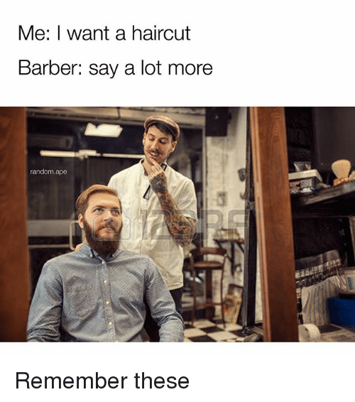 Barber, Haircut, and Memes: Me: I want a haircut  Barber: say a lot more  random.ape Remember these