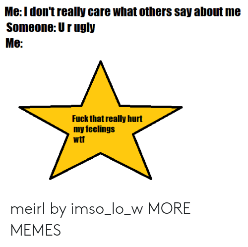 hurt my feelings: Me:Idon't really care what others say about me  Someone: Urugly  Me:  Fuck that really hurt  my feelings  wtf meirl by imso_lo_w MORE MEMES