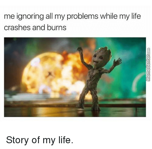 Life, Memes, and 🤖: me ignoring all my problems while my life  crashes and burns Story of my life.