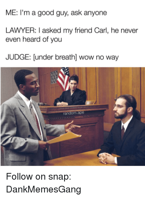 Lawyer, Memes, and Wow: ME: I'm a good guy, ask anyone  LAWYER: I asked my friend Carl, he never  even heard of you  JUDGE: [under breath] wow no way Follow on snap: DankMemesGang