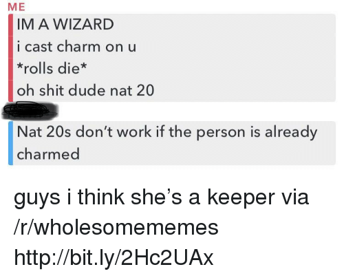 charmed: ME  IM A WIZARD  i cast charm on u  *rolls die*  oh shit dude nat 20  Nat 20s don't work if the person is already  charmed guys i think she's a keeper via /r/wholesomememes http://bit.ly/2Hc2UAx