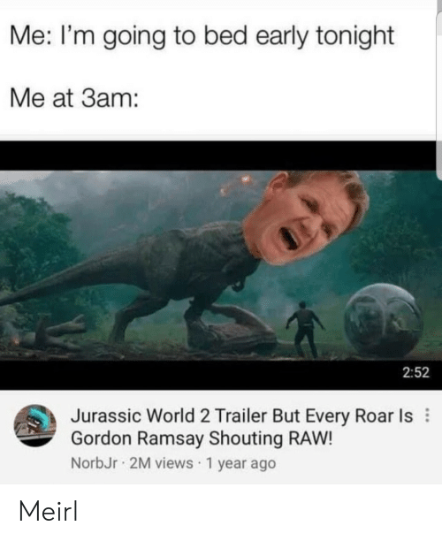 jurassic: Me: I'm going to bed early tonight  Me at 3am:  2:52  Jurassic World 2 Trailer But Every Roar Is  Gordon Ramsay Shouting RAW!  NorbJr 2M views 1 year ago Meirl