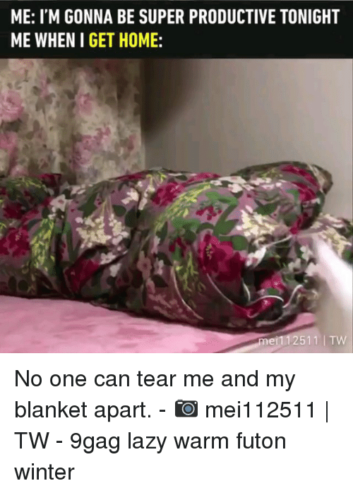 9gag, Lazy, and Memes: ME: I'M GONNA BE SUPER PRODUCTIVE TONIGHT  ME WHEN I GET HOME:  2511 TVW No one can tear me and my blanket apart. - 📷 mei112511 | TW - 9gag lazy warm futon winter
