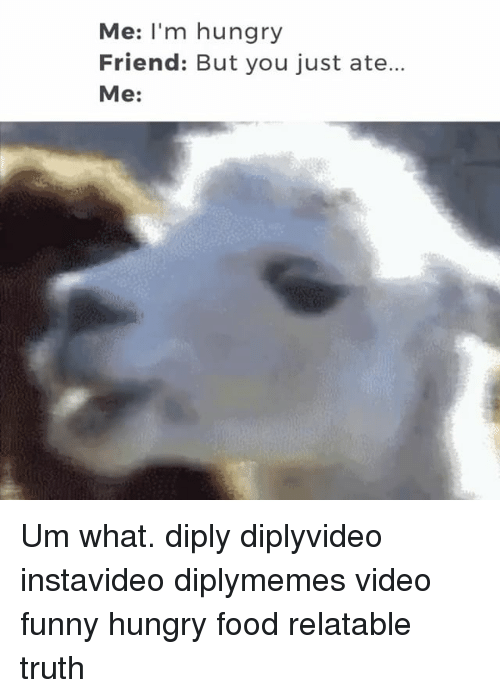 Funny Hungry: Me: I'm hungry  Friend: But you just ate..  Me: Um what. diply diplyvideo instavideo diplymemes video funny hungry food relatable truth