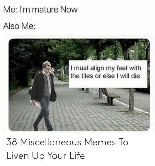 tiles: Me: I'm mature Now  Also Me  I must align my feet with  the tiles or else I will die. 38 Miscellaneous Memes To Liven Up Your Life