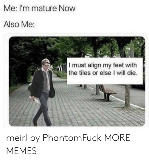 tiles: Me: I'm mature Now  Also Me  I must align my feet with  the tiles or else I will die meirl by PhantomFuck MORE MEMES