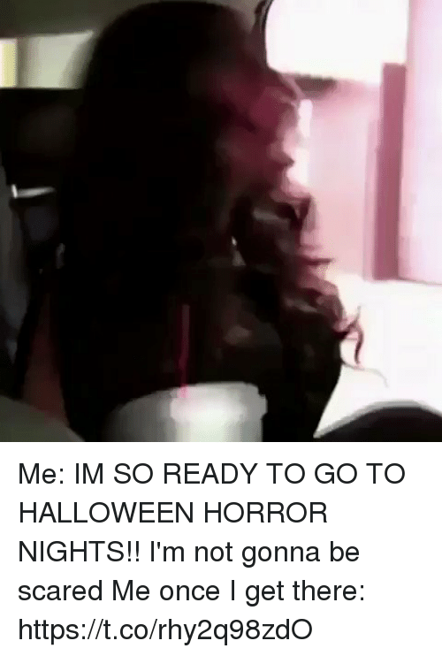 Funny, Halloween, and Horror: Me: IM SO READY TO GO TO HALLOWEEN HORROR NIGHTS!! I'm not gonna be scared   Me once I get there: https://t.co/rhy2q98zdO