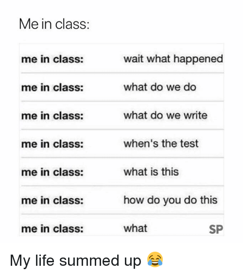 Life, Test, and What Is: Me in class:  wait what happened  what do we do  what do we write  when's the test  what is this  how do you do this  what  me in class:  me in class:  me in class:  me in class:  me in class:  me in class:  me in class:  SP My life summed up 😂