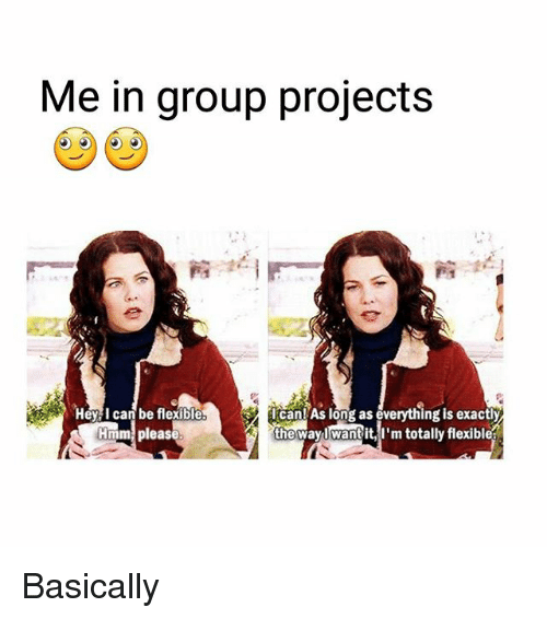 Memes, 🤖, and Group: Me in group projects  Can!As long as everything is exactly  the way want it, I'm totally flexiblea  Hmm pleas Basically