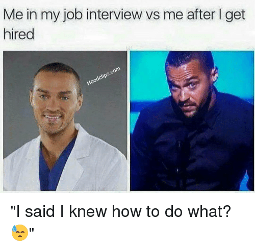 "Funny, Job Interview, and How To: Me in my job interview vs me after l get  hired  clips.com  Hood ""I said I knew how to do what? 😓"""