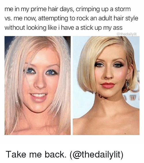 Ass, Memes, and Hair: me in my prime hair days, crimping up a storm  vs. me now attempting to rock an adult hair style  without looking like i have a stick up my ass  @theda  10 Take me back. (@thedailylit)