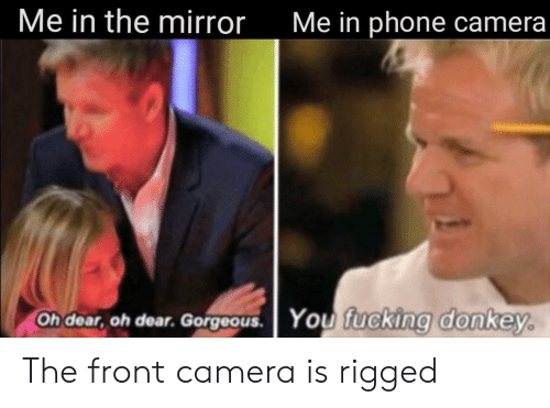 rigged: Me in the mirror  Me in phone camera  Oh dear, oh dear. Gorgeous.  You fucking donkey. The front camera is rigged