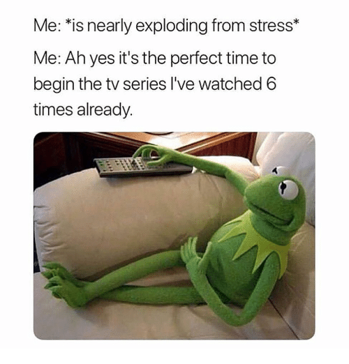 Funny, Time, and Yes: Me: *is nearly exploding from stress*  Me: Ah yes it's the perfect time to  begin the tv series l've watched 6  times already.