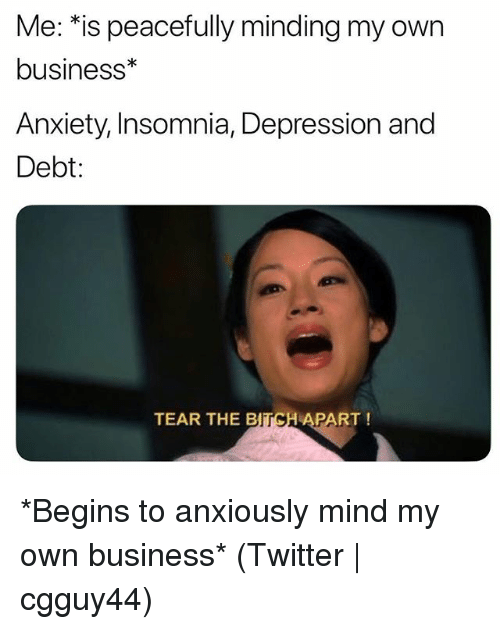 Bitch, Twitter, and Anxiety: Me: *is peacefully minding my own  business*  Anxiety, Insomnia, Depression and  Debt:  TEAR THE BITCH APART! *Begins to anxiously mind my own business* (Twitter | cgguy44)