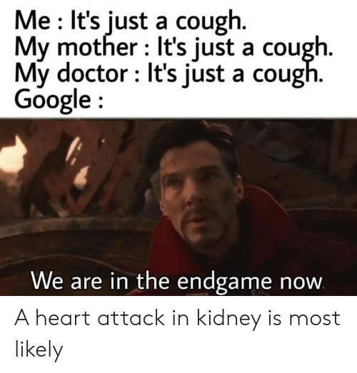 kidney: Me It's just a cough.  My mother It's just a cough.  My doctor It's just a cough.  Google  We are in the endgame  now A heart attack in kidney is most likely
