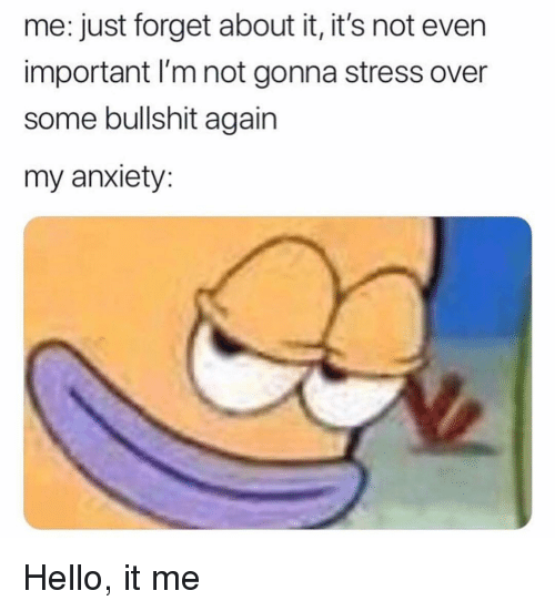 Some Bullshit: me: just forget about it, it's not even  important I'm not gonna stress over  some bullshit again  my anxiety Hello, it me