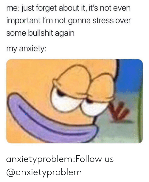 Some Bullshit: me: just forget about it, it's not even  important I'm not gonna stress over  some bullshit again  my anxiety: anxietyproblem:Follow us @anxietyproblem