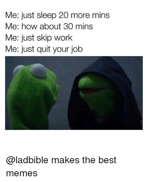 Memes, Work, and Best: Me: just sleep 20 more mins  Me: how about 30 mins  Me: just skip work  Me: just quit your job @ladbible makes the best memes