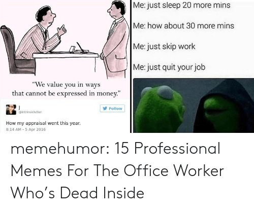"Skip: Me: just sleep 20 more mins  Me: how about 30 more mins  Me: just skip work  Me: just quit your job  ""We value you in ways  that cannot be expressed in money.""  Follow  intrinsiclutter  How my appraisal went this year.  8:14 AM 5 Apr 2016 memehumor:  15 Professional Memes For The Office Worker Who's Dead Inside"