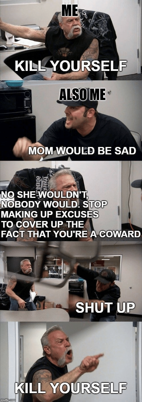 Making Up: ME  KILL YOURSELF  ALSOME  MOM WOULED BE SAD  NO SHEWOULDNT  NOBODY WOULD STOP  MAKING UP EXCUSES  TO COVER UP THE  FACT THAT YOU'RE A COWARD  SHUT UP  KILL YOURSELF