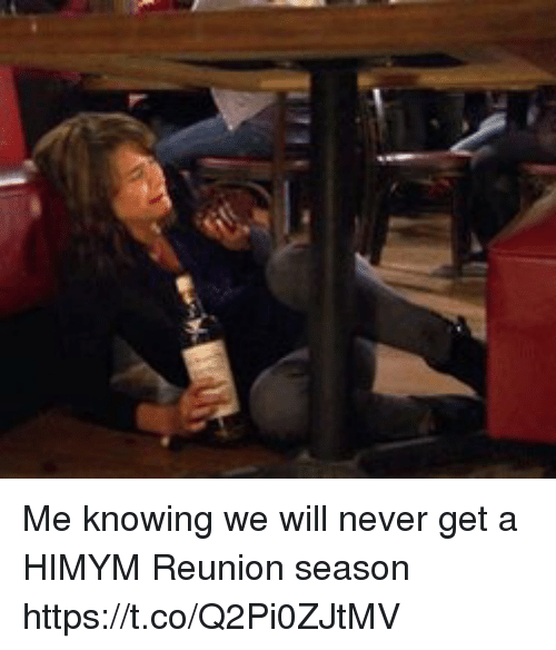 Memes, Never, and 🤖: Me knowing we will never get a HIMYM Reunion season https://t.co/Q2Pi0ZJtMV